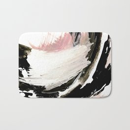 Crash: an abstract mixed media piece in black white and pink Bath Mat