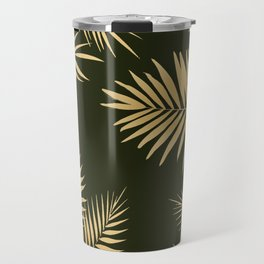 Golden and Green Palm Leaves Travel Mug