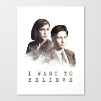 i want to believe Canvas Prints featuring I Want to Believe by Davide Fiume