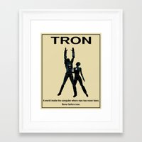 movie poster Framed Art Prints featuring Tron Movie Poster by Finlay McNevin