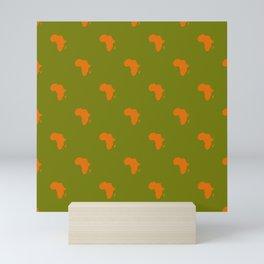 African Green Orange Tiled Mini Art Print
