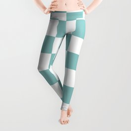 Chalky Blue Checkers Pattern Leggings