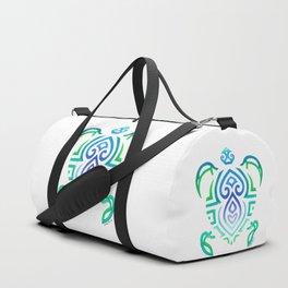 Tribal Turtle on White Duffle Bag