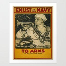 Vintage poster - Enlist in the Navy Art Print