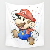 mario Wall Tapestries featuring Mario Watercolor by Olechka