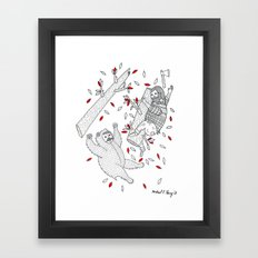 A scene in which tree-climbing has gone too far. Framed Art Print
