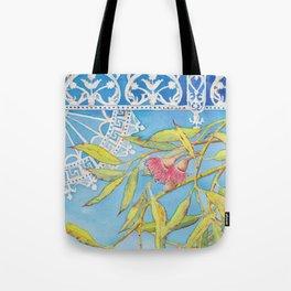 Goldfields Filigree - watercolour of eucalyptus & ironwork Tote Bag