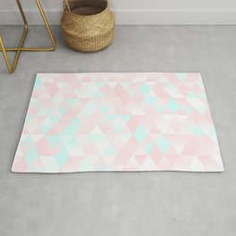 Pastel Millennial Pink Teal Triangle Ombre Geometric Cute Pattern Rug