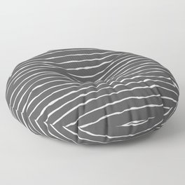 Modern Charcoal and White Stripes Floor Pillow