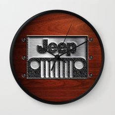 Embossed Steel Jeep logo with wood background iPhone 4 4s 5 5c 6, pillow case, mugs and tshirt Wall Clock