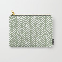 Boho Herringbone Pattern, Sage Green and White Carry-All Pouch