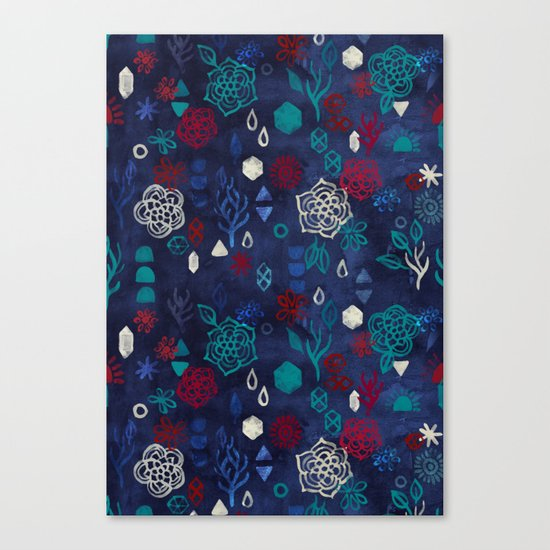 Elements - a watercolor pattern in red, cream & navy blue Canvas Print