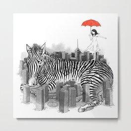 Crossing Zebra Metal Print