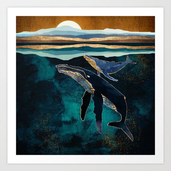 Moonlit Whales Kunstdrucke