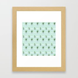 Modern teal green white triangles cactus floral pattern Framed Art Print
