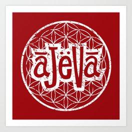 Ajeva Logo Red Art Print
