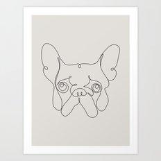 One Line French bulldog Art Print