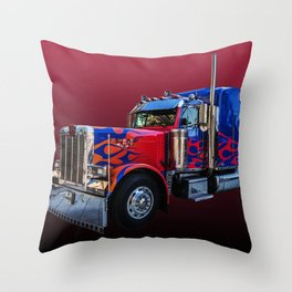 American Truck Red Throw Pillow