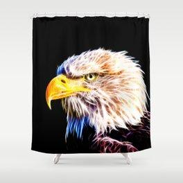 bald eagle 03 neon lines stardust Shower Curtain