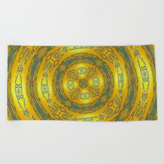 Yellow/Blue Manadala Beach Towel