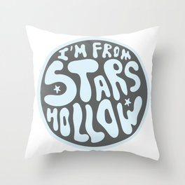 I'm From Stars Hollow in gray and blue Throw Pillow