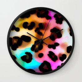 Rainbow leopard spots Wall Clock