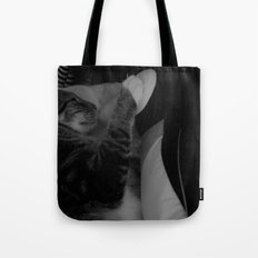 Love between cat and penguin  Tote Bag
