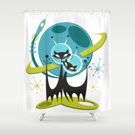 Galactic Cats 2 by Art of Scooter Mid Century Modern Art Shower Curtain