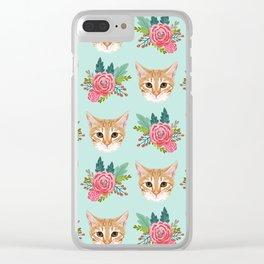 Tabby cat florals flowers must have cat themed gifts pet portrait cat lady mint pastel cat art fur Clear iPhone Case
