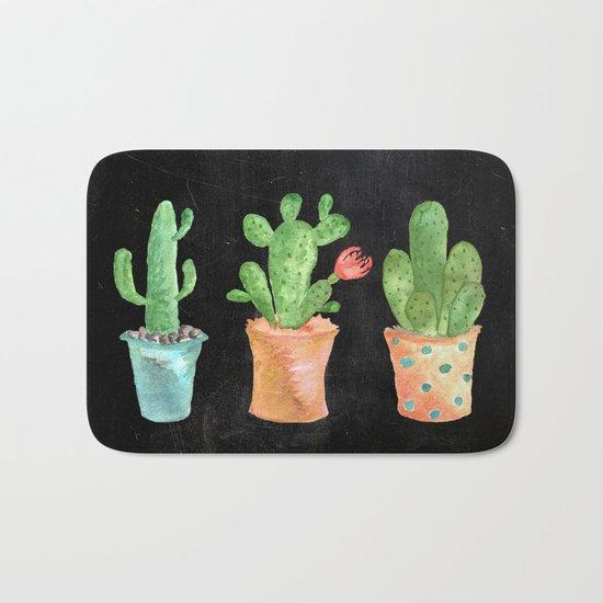 Three Green Cacti On Chalkboard Bath Mat