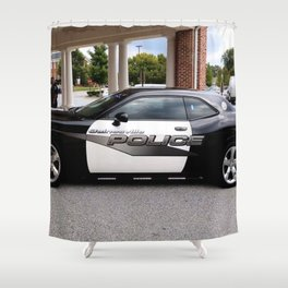 Gainesville Florida Police Challenger Black and White Patrol Car Shower Curtain