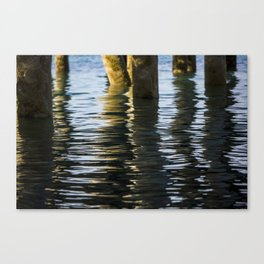Water reflection under the dock Canvas Print