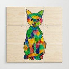 Rainbow Cat Wood Wall Art