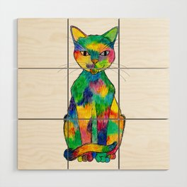 Rainbow Cat Wood Wall Art