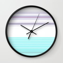 Romantic Pastel Teal white Purple Stripes Wall Clock
