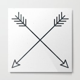 Arrows - Black and White Arrow Adventure Wanderlust Vintage Compass Design Metal Print