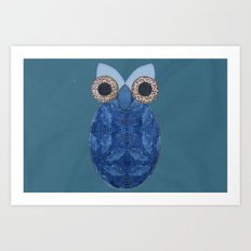 The Denim Owl #02 Art Print