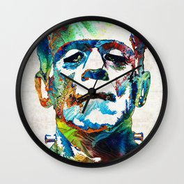 Frankenstein Art - Colorful Monster - By Sharon Cummings Wall Clock