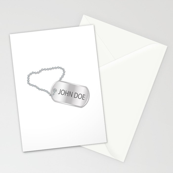 John Doe Dog Tag Stationery Cards