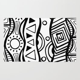 Four Waves - Freestyle Tribal Doodle Design Rug