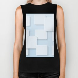 WHITE SQUARES ON A LIGHT BLUE BACKGROUND Abstract Art Biker Tank