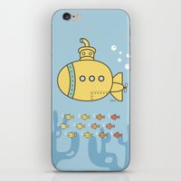 yellow submarine iPhone & iPod Skins featuring Yellow Submarine by Brenda Figueroa Illustration