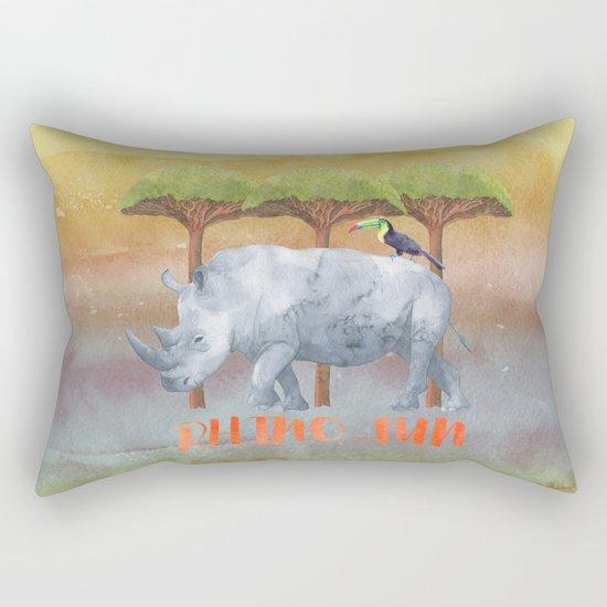 RHINO - FUN - rhinoceros - Africa Animal on #Society6 Rectangular Pillow