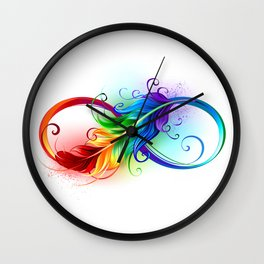 Infinity Symbol with Rainbow Feather Wall Clock