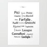 pasta Art Prints featuring Pasta by Genevieve Moye