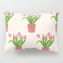 pink tulips in the pot Pillow Sham