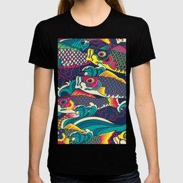 Colorful Koinobori carp streamer, carp-shaped windsocks hand drawn illustration pattern. Japanese traditional koi pattern T-shirt