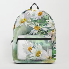 Watercolor chamomile white flowers Backpack