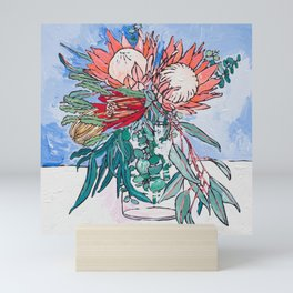 Painterly Vase of Proteas, Wattles, Banksias and Eucayptus on Blue Mini Art Print