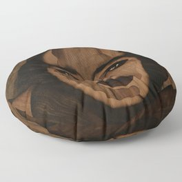 Fantasy wood face woman marquetry Floor Pillow